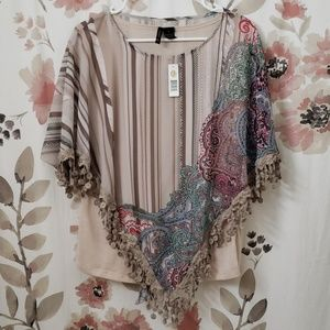 New Directions Poncho Style Blouse
